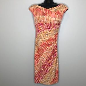 VINCE CAMUTO printed sleeveless ruched dress S